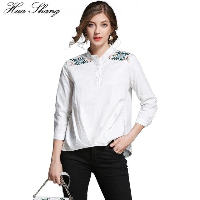 11005c48de21 € 12.91 10% de DESCUENTO|2017 otoño Collar de tres cuartos de la manga  bordado blanco, camisa de las mujeres de la Oficina de Trabajo blanco blusa  ...