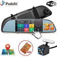 Podofo Car DVR Camera 3G Mirror 5 Dash Cam GPS FHD 1080P Touch Video Recorder Camera