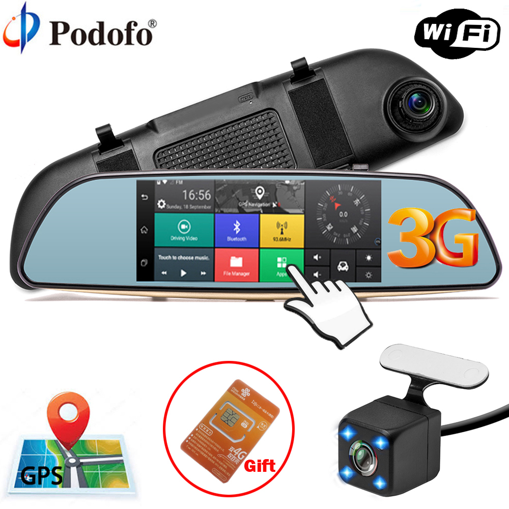 Podofo Car DVR Camera 3G Mirror 5 Dash Cam GPS FHD 1080P Touch Video Recorder Camera Android 5.0 Rearview Mirror Registrar Dvrs wifi dual lens 5 hd 1080p car dvr video recorder g sensor rearview mirror dash camera auto registrar rear view dvrs dash cam