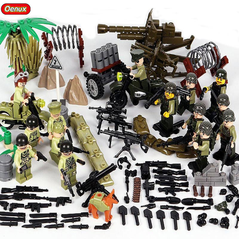 Oenux New WW2 The Battle of Normandy Armed Force Commando US Army Figures Military Building Block Brick Toy Compatible With DOLL oenux newest swat city policeman mini dolls building block set modern military armed forces soldiers brick toy for kids gift