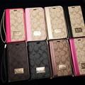 Coachs logotipo da marca de luxo da aleta carteira de couro case para iphone 7 6 6 s mais 5c 5S se capa para samsung galaxy s7 s6 edge note 5 S5