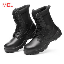 Outdoor Military Boots Men's Work Safety Shoes Steel Toe Breathable High Top Army Boots Combat Tactical Ankle Boots for Men купить недорого в Москве