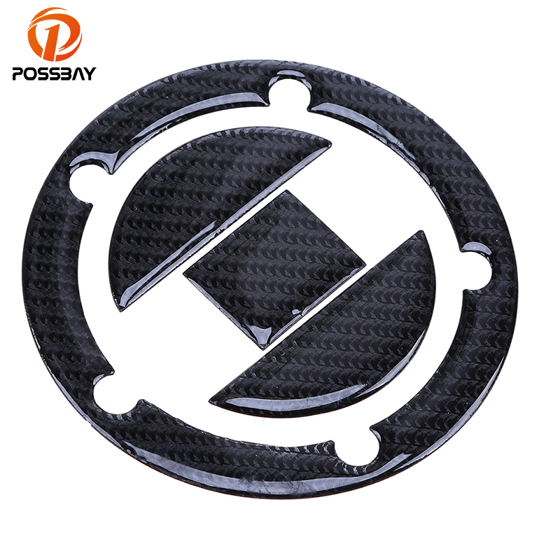 POSSBAY Carbon Fiber Oil Tank Cap Motorcycle Fuel Gas Tank Cap Covers Pad <font><b>Stickers</b></font> for <font><b>Suzuki</b></font> <font><b>GSXR</b></font> <font><b>600</b></font> 750 1000 1300 5/8 Holes image