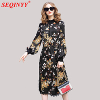 Floral Dress 2018 Summer New Fashion Print Birds Branches Long Lantern Sleeve Spliced Lace Knitting Mid