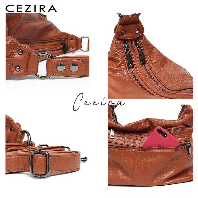 CEZIRA Fashion Women Handbag Washed Vegan Leather Shoulder Messenger Bags Casual Pockets Bags PU Bolsa Feminina Cross body Bags 5
