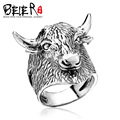 Beier 925 silver sterling jewelry 2015  Men's Retro domineering ring  animal ring  cattle head ring  D1294