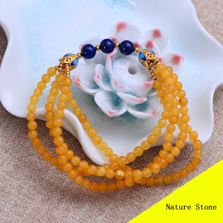 Fashion 4mm Nature Yellow Beeswax Bracelet Women Gift Jewelry Four String Bracelet ML007 fashion 5mm red southern bracelet women gift jewelry three several string long bracelet nh012