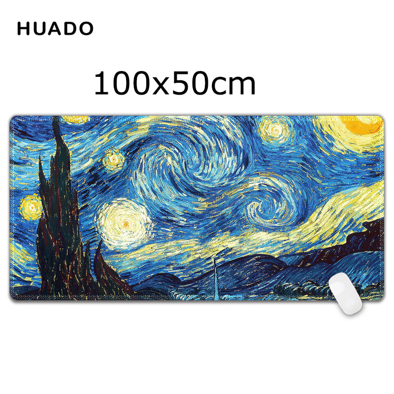 large computer mouse pads 1000x500mm speed Oil painting Keyboard Mat Desk Mat for game player/officer