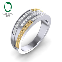 CaiMao 0.33ct Natural Diamond 14K Two Tone Gold Twisted Rope Mens Wedding Band Mens Ring