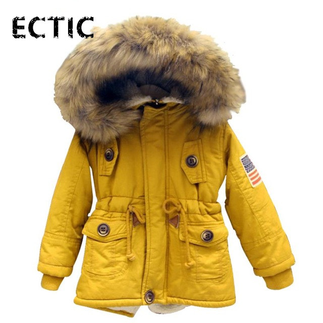 6-11 girls boys coats and jackets 2017 autumn winter Korean boys USA flag hooded coat thick cotton warmer kids winter coat girls usa flag print crop tee