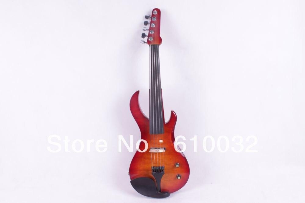 4/4 violon électrique bois massif 20-28 # rouge ajouter couleur jaune guitare cou 5 cordes