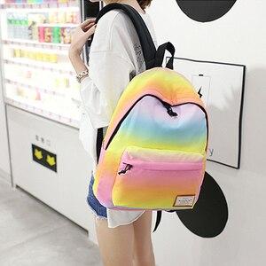 Image 5 - Scione Women Printing Backpacks Gradient Color School Bags For Teenage Girls School Shoulder Bags Waterproof Bookbag Mochila
