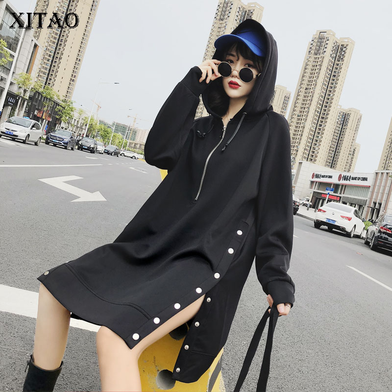 XITAO Casual Women 2018 Autumn Korea Fashion Hooded Collar Full Sleeve Long Top Female Solid
