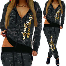 ZOGAA spring new 2 piece set women fashion clothing 2019 Casual camouflage street style  sweatsuits for Plus S-3XL