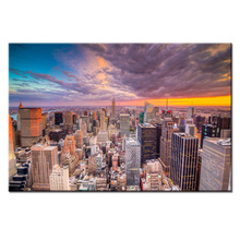 Modern city landscape poster series Wall Art Oil Painting On Canvas Printed Pictures Decor painting large living room