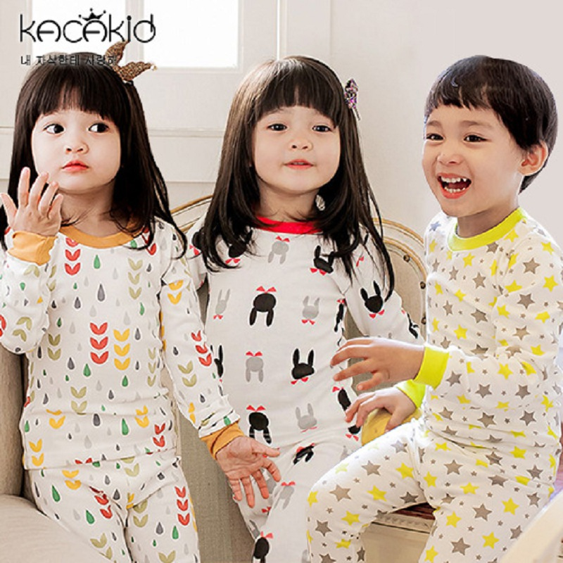 Kacakid winter baby boys girl Pajamas Suit Sleepwear Baby Boys cotton Clothing cute T-Shirts Kids Pyjamas Home underwear sets