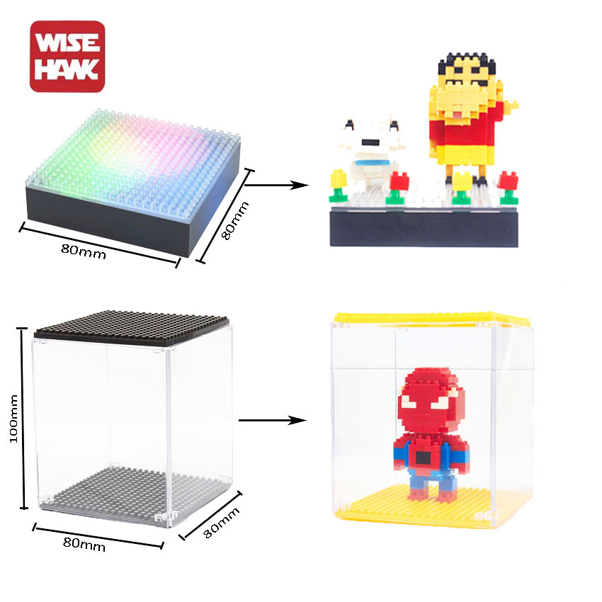 Wisehawk Hot Nano Blocks Lighting Display Base And Case Box For Plastic Diamond Building Bricks Diy Micro Action Figure Showing lno big size super mario bros model action figures nano block micro diamond plastic building blocks diy bricks toys without box