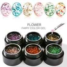 MEET ACROSS 5ml Flowers Gel Nail Polish Natural Dried Flower Colorful Soak Off UV Painting Art Varnish