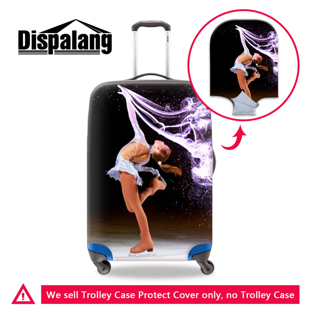 Dispalang Travel Accessories,Elastic Dust Luggage Cover,Ice Skating Girl Cute Suitcase Protective Covers For 18-30 Inch Case