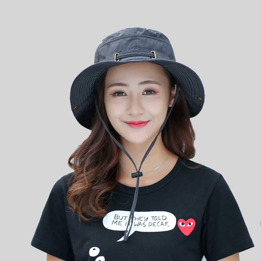 8651bde4311 ... Cap Men Solid Summer Sun Hats for Women UV Protection Bucket Hats Hiking  Fishing Wide Brim ...