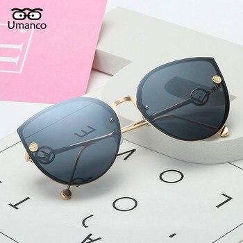 Umanco 2018 Women Fashion Big Square Metal Cat Sunglasses Female Male Multicolor Sun Glasses Outdoor Travel Driving Eyewear
