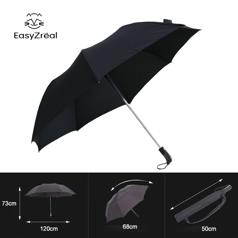 EZ New strong windproof Long handle men Folding umbrella large Outdoor Male Business parapluie Big Black Umbrellas Rain High