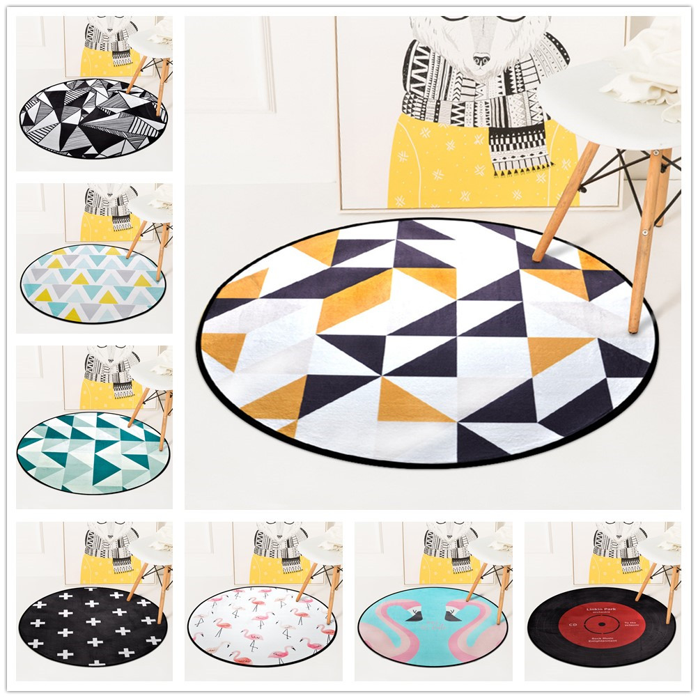 European Geometric Round Carpet For Living Room Children Bedroom Rugs And Carpets Computer Chair Floor Mat Cloakroom Carpet