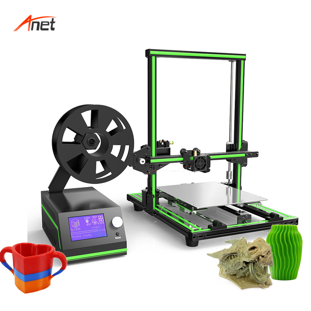 Anet E10 Semi Assembled 3d Metal Printer LCD 12864 Steel Case Large Printing Size Impressora 3d 40-120mm/s Printing Speed anet a2 12864 large aluminium metal 3d printer with lcd display