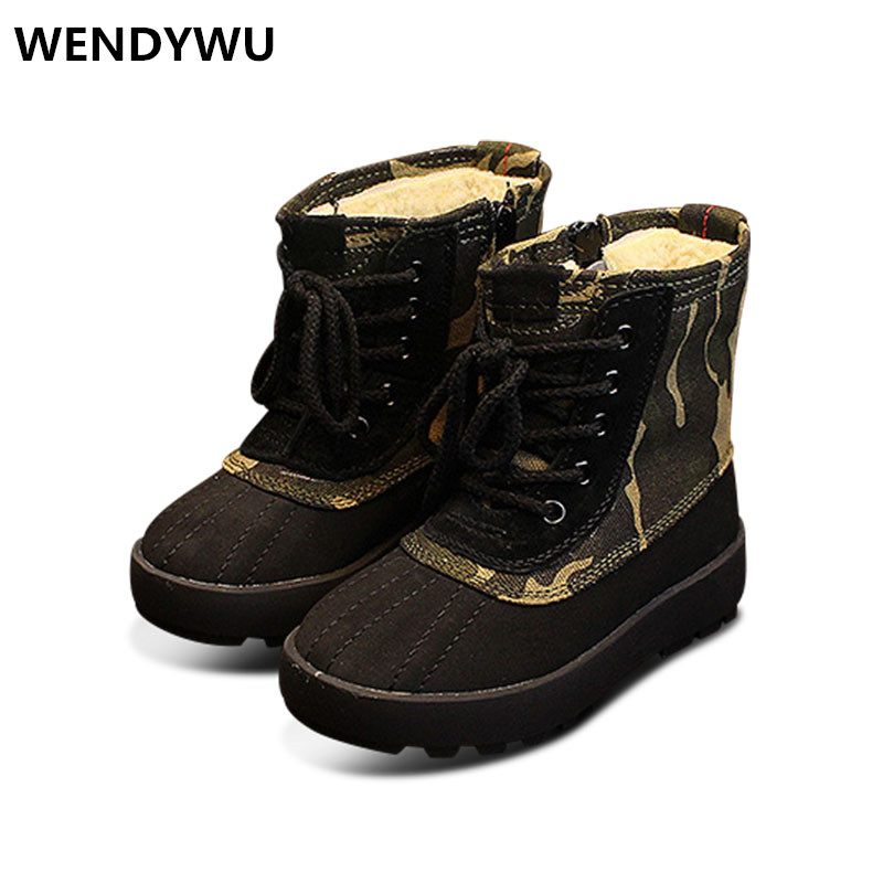 WENDYWU winter mid calf boots baby girls genuine leather shoes for boys brand fashion boots children green boots brown