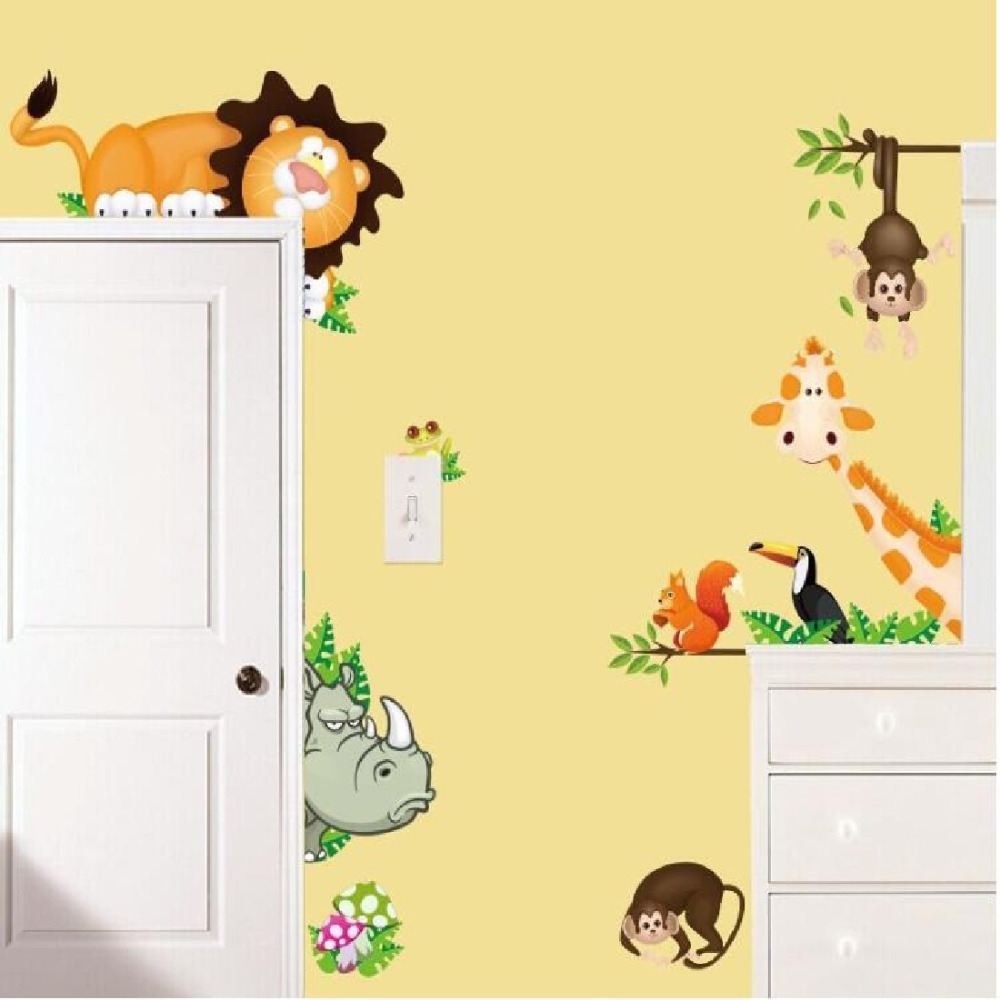 brand Jungle Animal Zoo Kids Bedroom Removable Wall Stickers Decals ...