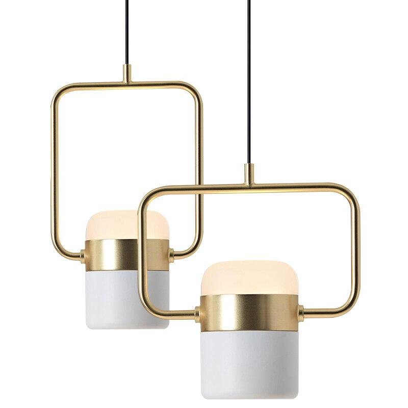 Nordic modern simple marble pendant light foyer bedroom restaurant decorantion droplight gold / rose gold lamp body LED lighting