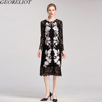 High Quality Embroidery Lace Dress 2017 New Brand Women Embroidery Long Sleeve Hollow Out Bodycon Party
