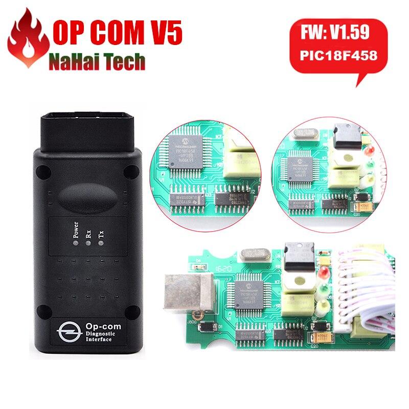 OP COM V1.59 V1.99 FW OP-COM с PIC18F458 Chipcan быть обновления флэш-памяти V5 PCB для Opel COM OPCOM OBD2 сканер диагностики-инструмент