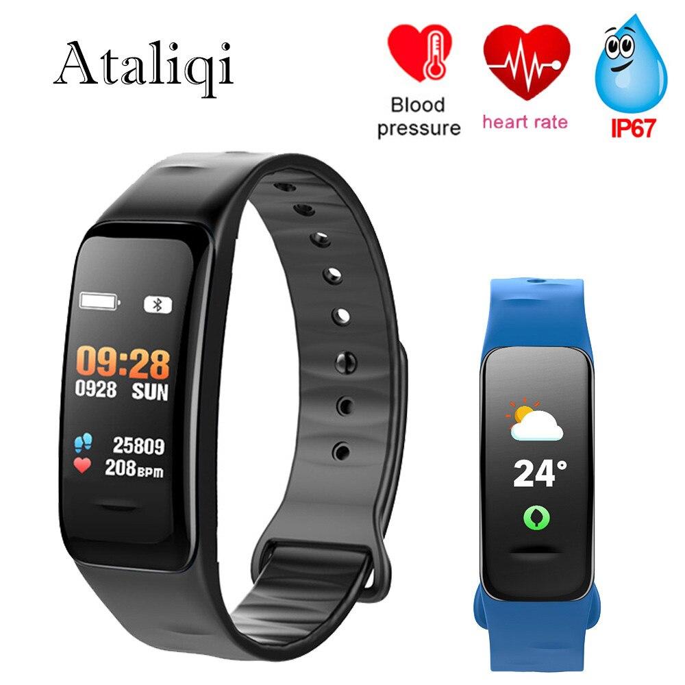Ataliqi C1S Smart Bracelet Waterproof wristband heart rate monitor Blood pressure measurement Fitness tracker Smart Band Watch