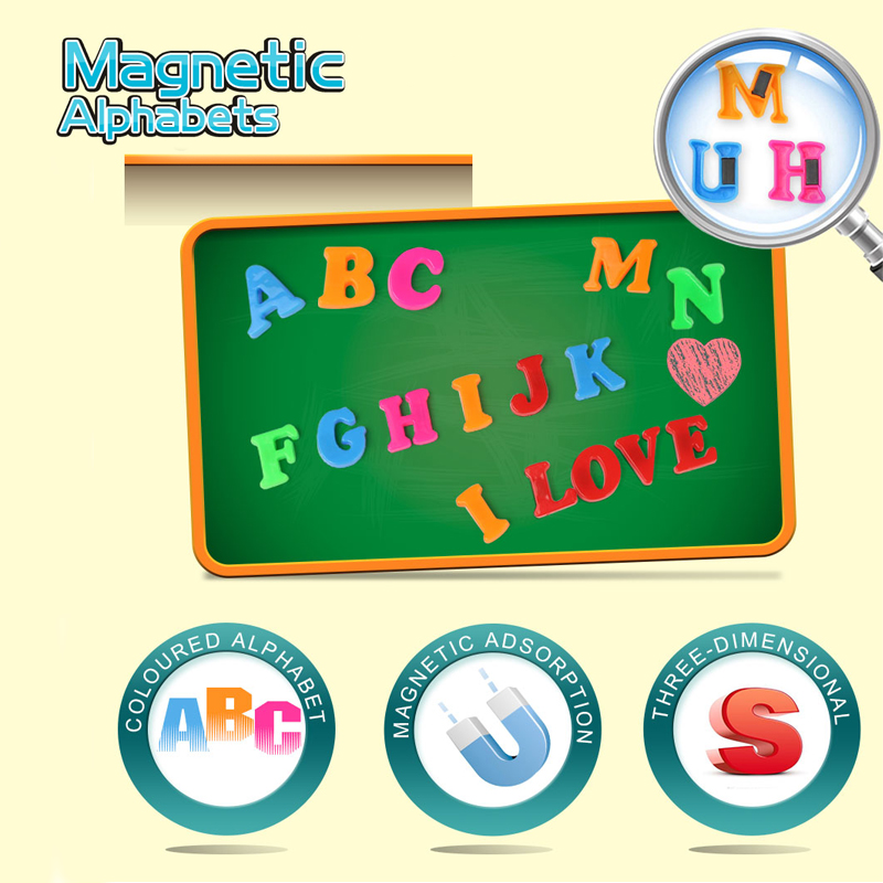 26pcs Learning Alphabets Cards Magnetic Toy Colorful ABC Alphabet Fridge Magnet Early Learning Educational Letter For Children !