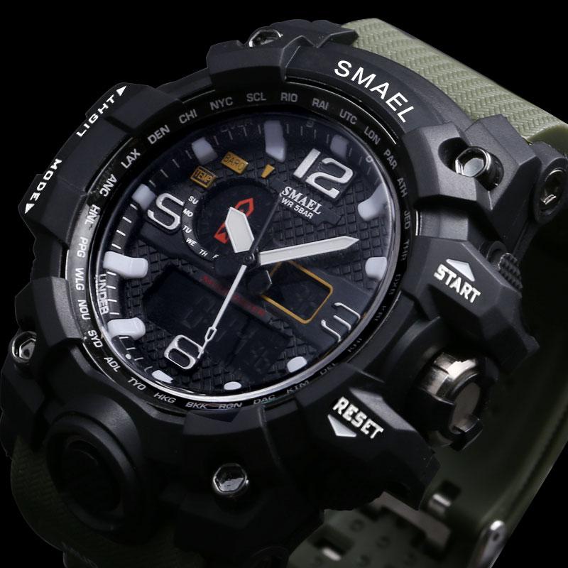 SMAEL Brand Men Sports Watches Dual Display Analog Digital LED Electronic Quartz Wristwatches Waterproof Swimming Military Watch 4