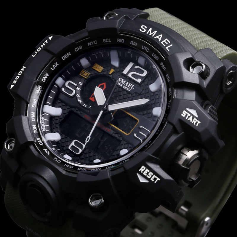 SMAEL ยี่ห้อผู้ชายกีฬานาฬิกา Dual นาฬิกาอะนาล็อกดิจิตอล LED นาฬิกาข้อมือควอตซ์อิเล็กทรอนิกส์กันน้ำทหารนาฬิกา
