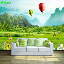Fresh meadow mountain hot air balloon 3D TV background mural