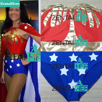 Free Shipping Custom Made Wonder Woman Costumes With Cape For Halloween Girl Zentai Catsuit Cosplay Superhero