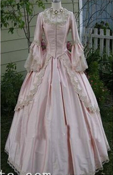 Custom 18th Century Light Pink Satin Marie Antoinette Period Dress  Ball Gown