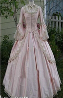 Custom 18th Century Light Pink Satin Marie Antoinette Period Dress Ball Gown