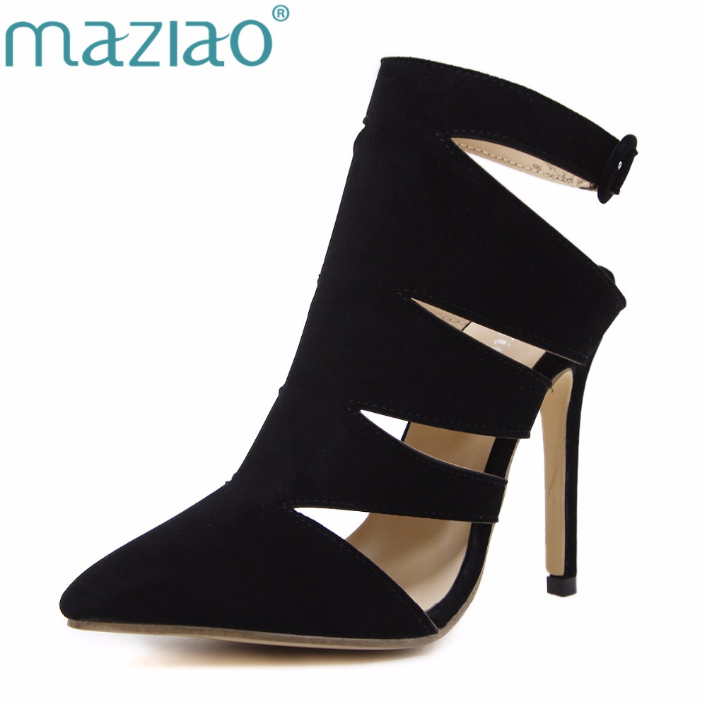 MAZIAO Sexy summer autumn shoes for women boots pointed toe High-heeled thigh high hells Hollow Ankle Boots Party Shoes