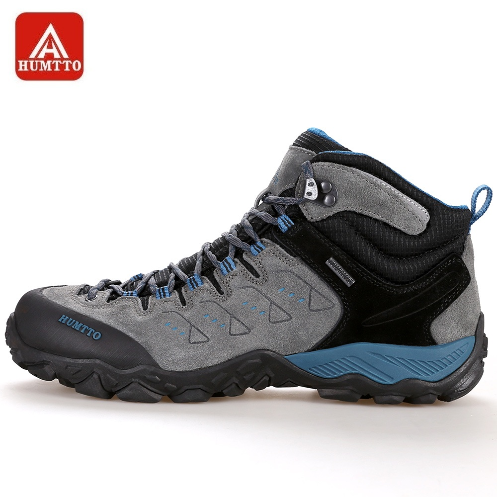 HUMTTO Hiking Shoes Men High Cut Breathable Lace up Leather Sneakers Outdoor Mountains Climbing Shoes Common