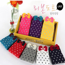 Sweet candy color bow socks stealth hosiery for female  leisure street cotton socks