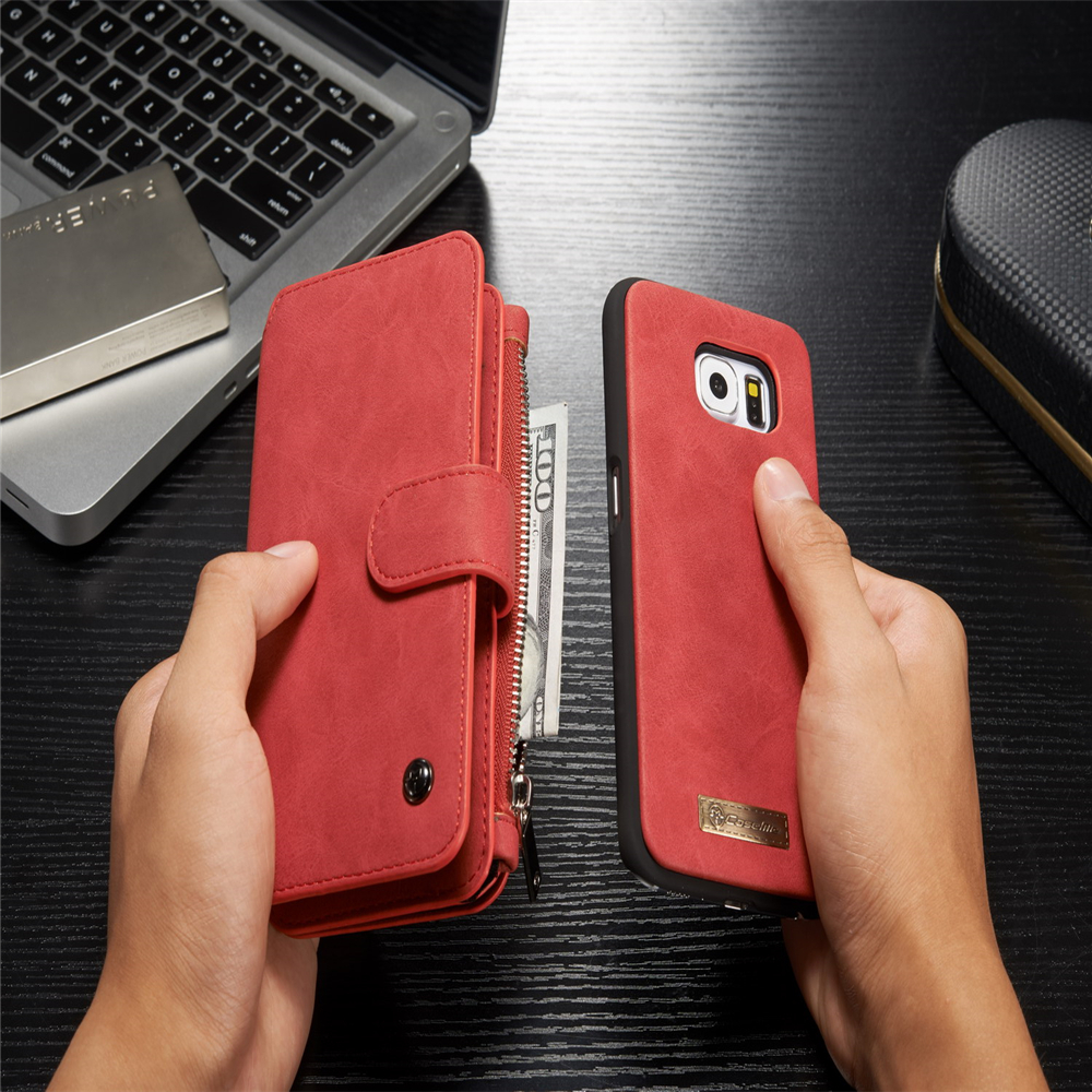 For Samsung Galaxy S6 Case 2 In 1 Removable Magnetic 9 Card Leather 2in1 Shark Hybrid Armor Hard Soft Huawei P9 Zipper Wallet