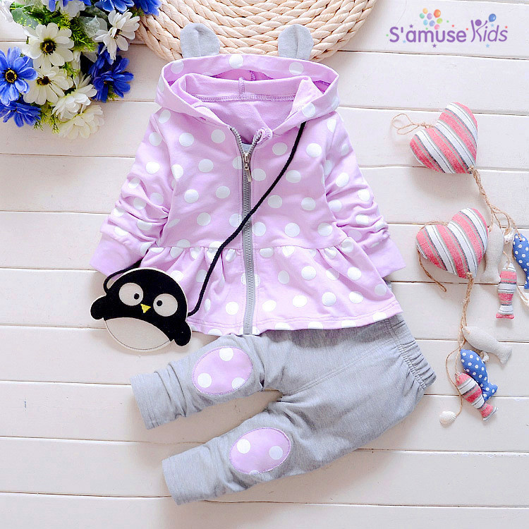 Autumn baby clothing set fashion cotton long-sleeved dots printed hooded coat + trousers newborn baby girl clothes