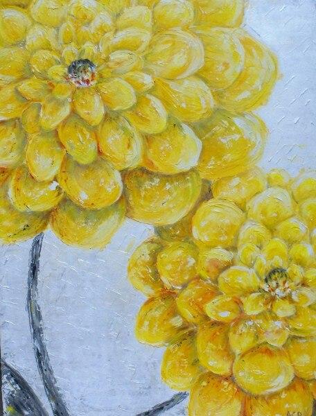 Peinture à l'huile à la main en gros sur toile jaune Dahlias décoration de la maison Art mural fleurs impressionnistes peinture