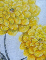 Wholesale Handmade Oil Painting on Canvas Yellow Dahlias Home Decoration Wall Art Impressionist Flowers Painting