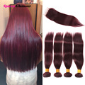 Wholesale 7A Brazilian Straight Hair With Closure 4 Bundles Brazilian Virgin Hair With Closure 99J Lace Clsoure With Bundlles