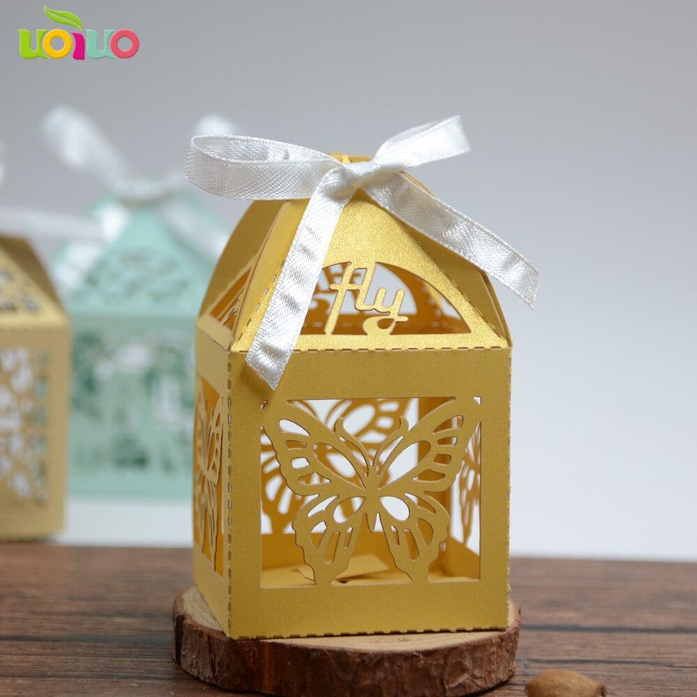 Простой золотой бумаги Лазерная резка бабочка свадебные Подарочные коробочки крещение способствует cardbord коробки для упаковки